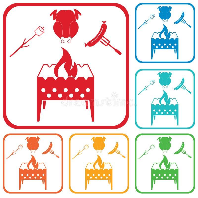 El brasero, céfiro, chicen e icono de la salchicha ilustración del vector