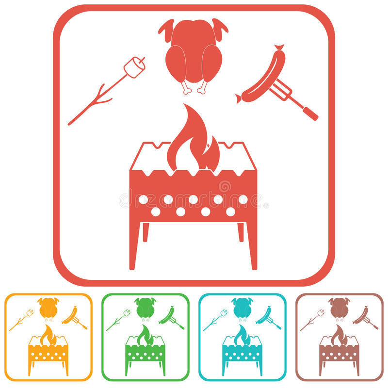 El brasero, céfiro, chicen e icono de la salchicha stock de ilustración