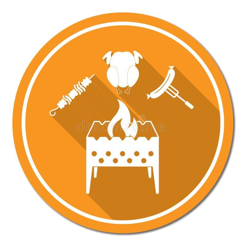 El brasero, kebab, chicen e icono de la salchicha libre illustration