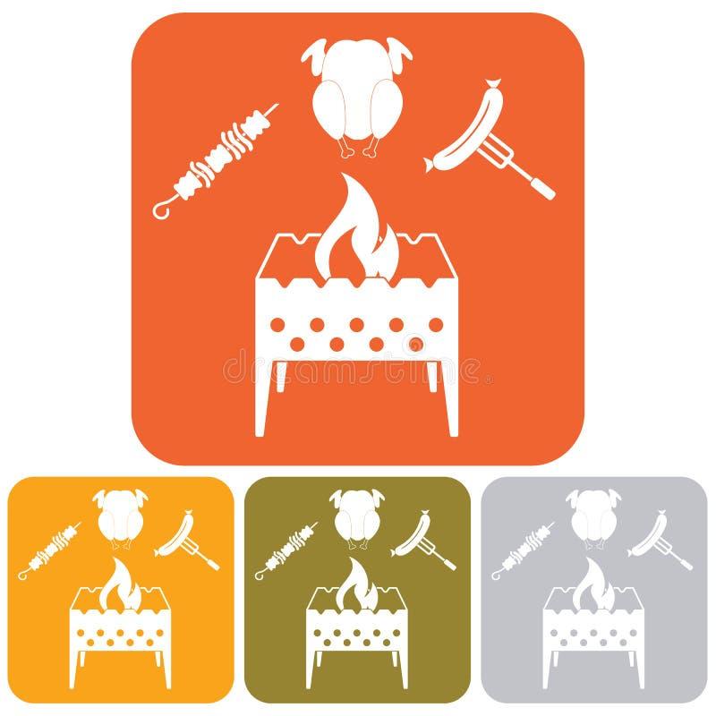 El brasero, kebab, chicen e icono de la salchicha ilustración del vector