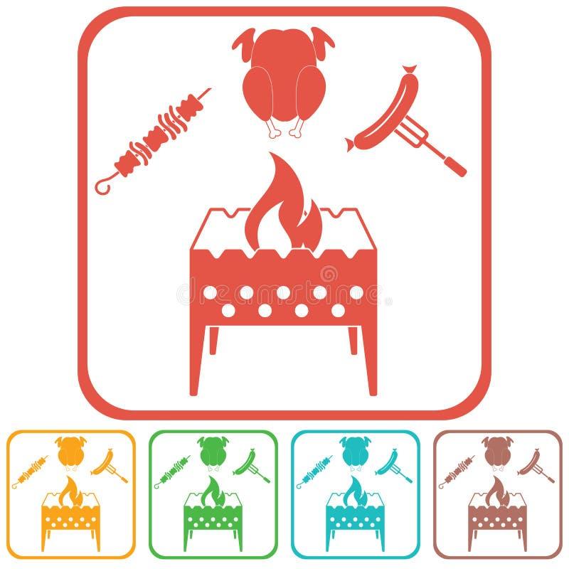 El brasero, kebab, chicen e icono de la salchicha stock de ilustración