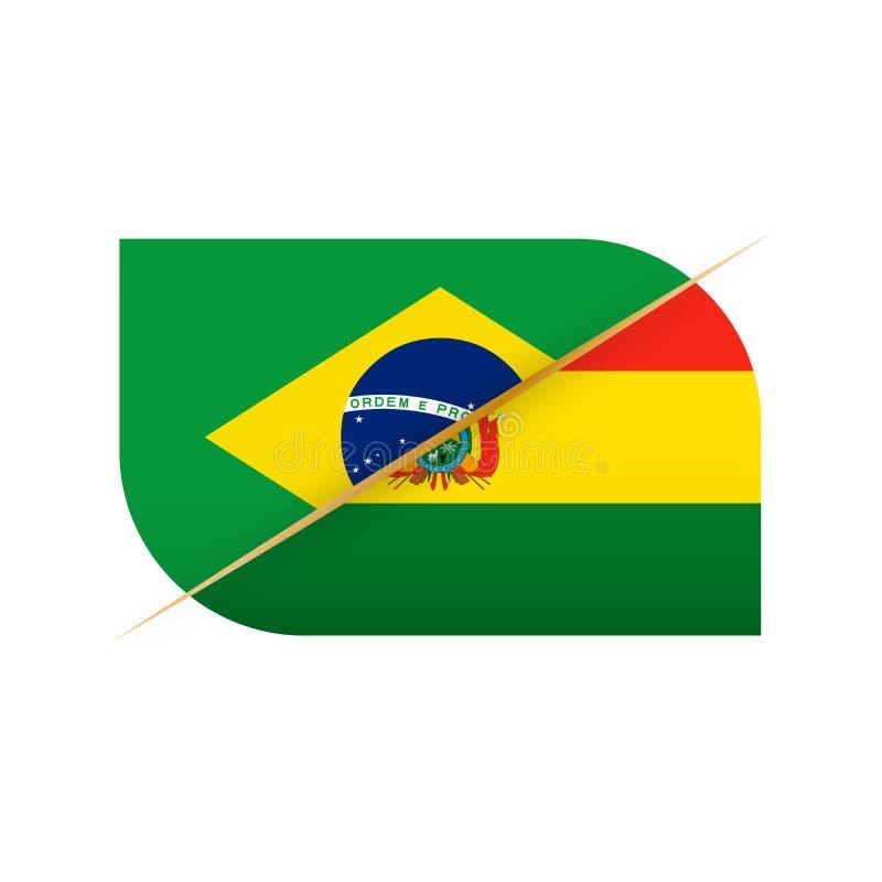 El Brasil contra Bolivia, icono de dos banderas del vector para la competencia de deporte ilustración del vector