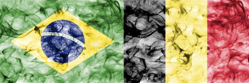 El Brasil contra la bandera del humo de Bélgica, finales cuartos, mundial 2018, Moscú, Rusia del fútbol ilustración del vector