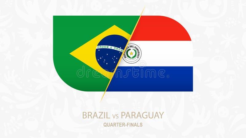 El Brasil contra Paraguay, Cuarto-finales de la competencia del fútbol libre illustration