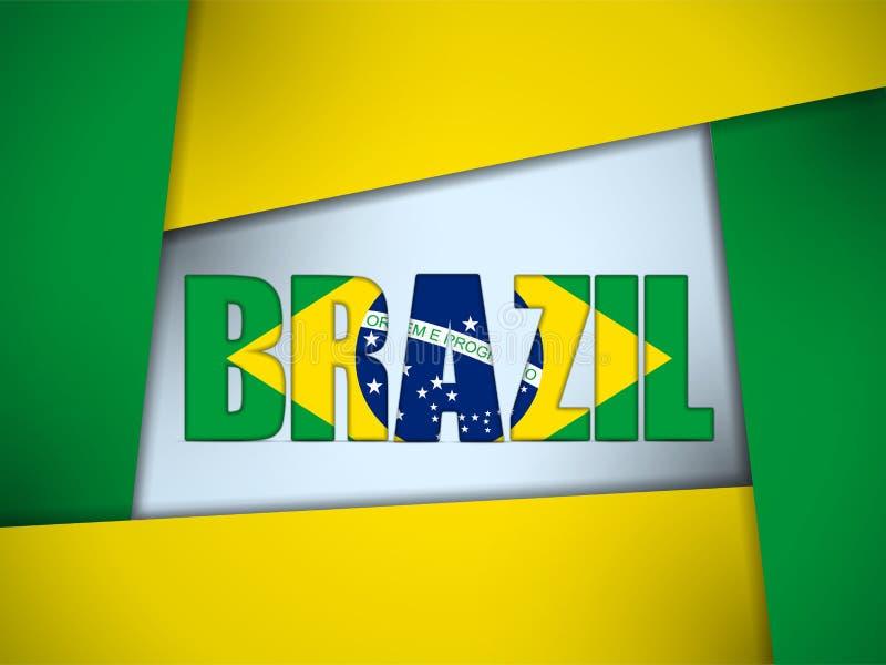 El Brasil 2014 letras con la bandera brasileña stock de ilustración