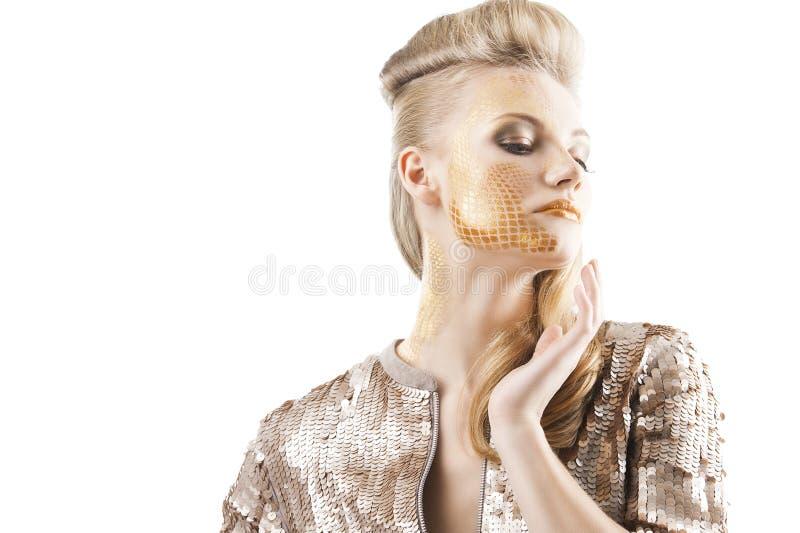 El brillar del cequi creativo compone a la muchacha, imagen de archivo