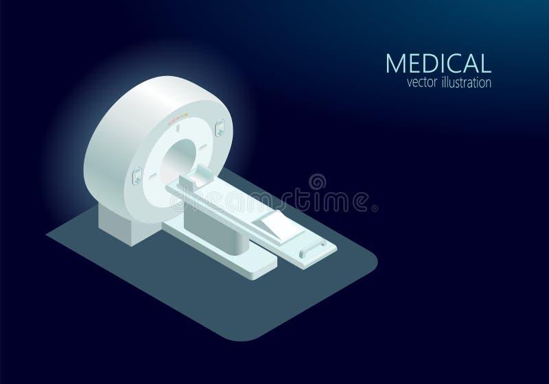 El brillar intensamente azul plano isométrico 3d de la proyección de imagen del concepto de la tomografía computada de MRI del es libre illustration