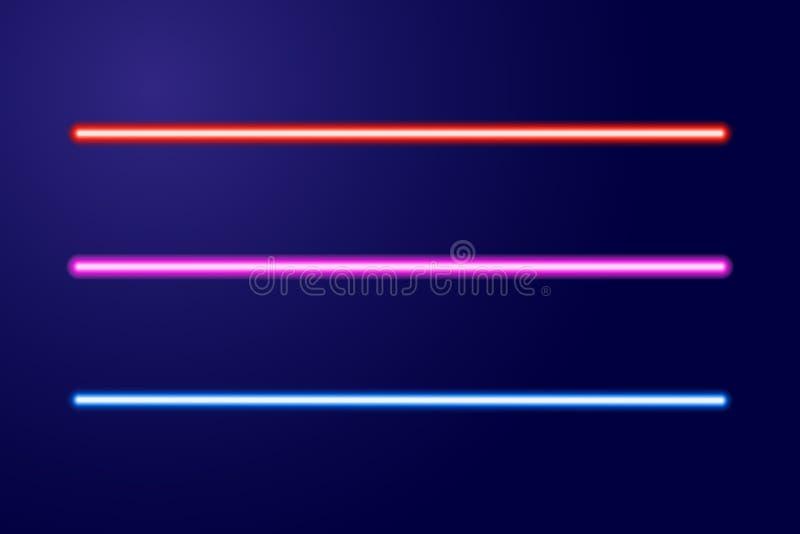 El brillar intensamente azul, rojo, rosado de neón alinea las espadas ligeras del ejemplo ilustración del vector