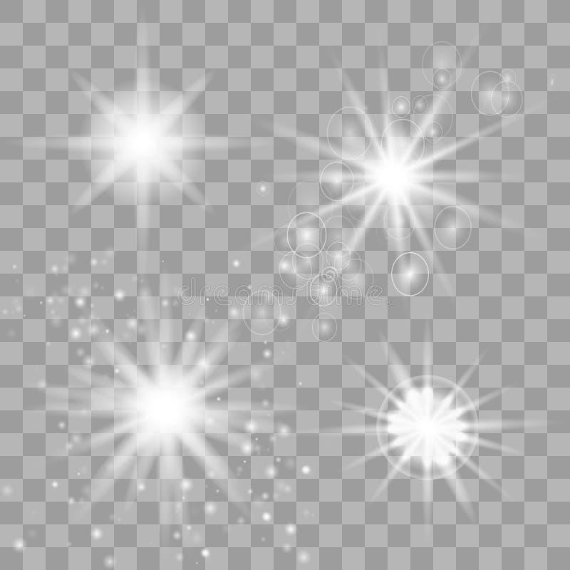 El brillar intensamente blanco ligero estalla en un fondo transparente ilustración del vector