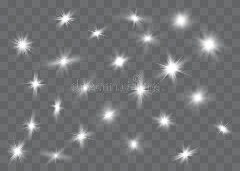 El brillar intensamente blanco ligero estalla en un fondo transparente P?rticulas de polvo m?gicas chispeantes Estrella brillante ilustración del vector