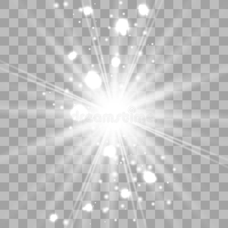 El brillar intensamente blanco ligero estalla ilustración del vector
