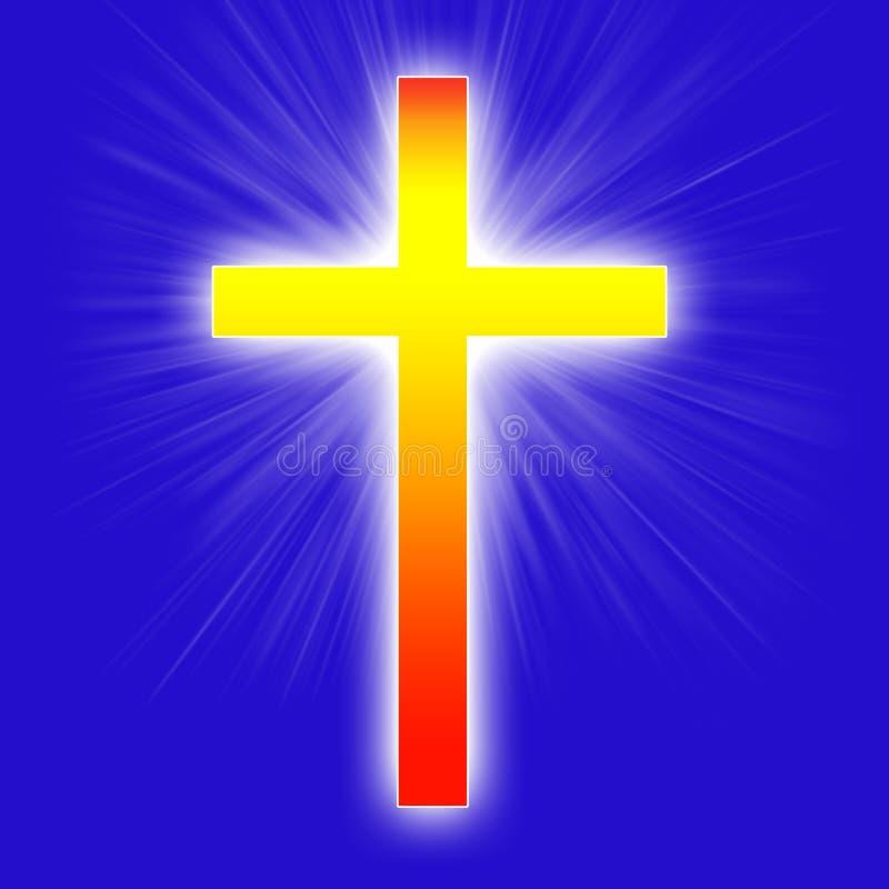El brillar intensamente cruz roja y amarilla stock de ilustración