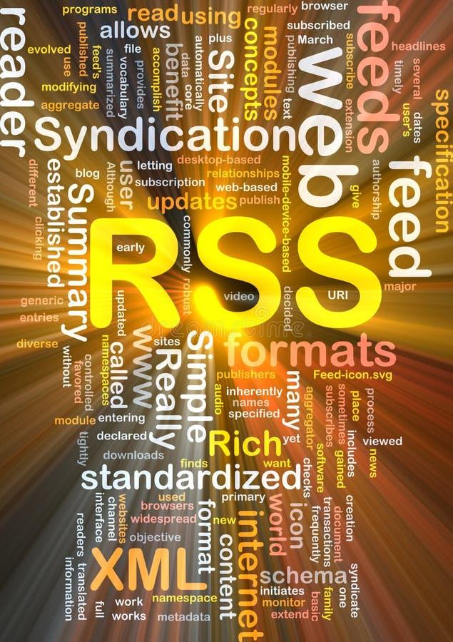 El brillar intensamente del concepto del fondo de la alimentación de RSS stock de ilustración
