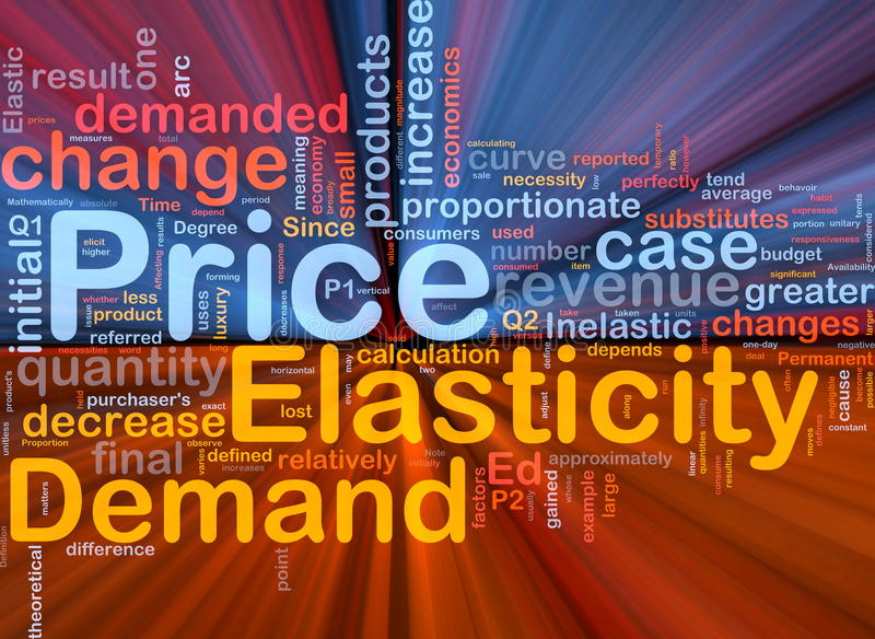 El brillar intensamente del concepto del fondo de la elasticidad de precio ilustración del vector