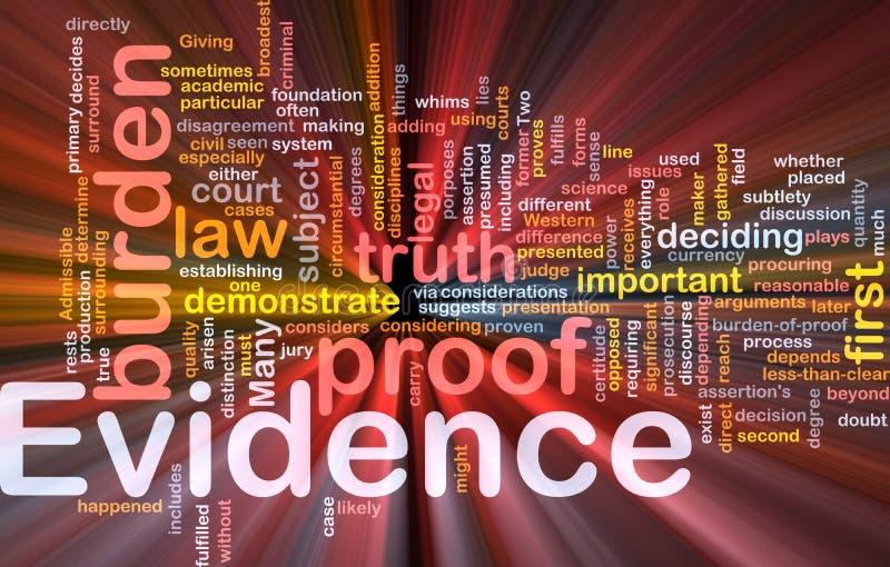 El brillar intensamente del concepto del fondo de la prueba de la evidencia stock de ilustración