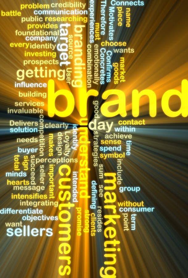 El brillar intensamente del wordcloud de la comercialización de marca de fábrica ilustración del vector