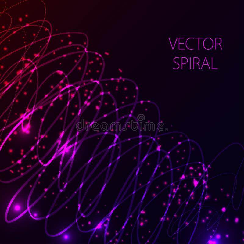 El brillar intensamente espiral en fondo oscuro Concepto de alta tecnología ligero abstracto azul y rosado libre illustration