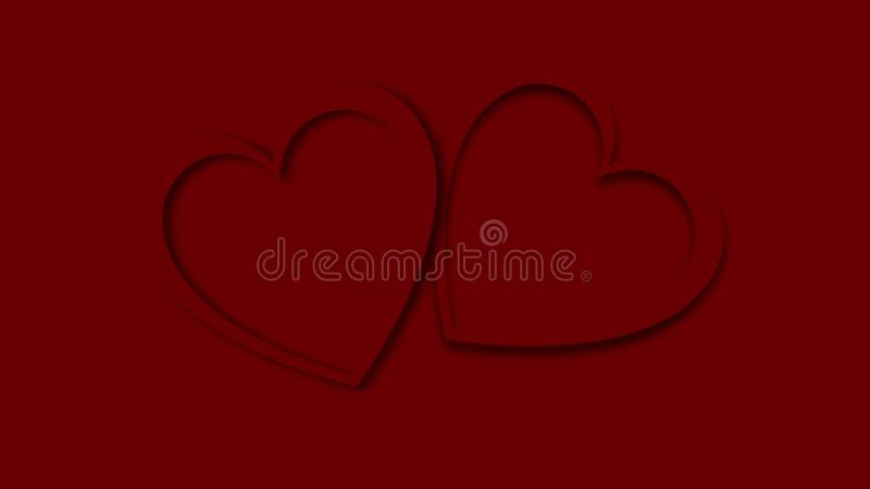 El brillar intensamente festivo rojo del extracto hermoso talló dos corazones hechos del papel coloreado para el día de tarjeta d stock de ilustración