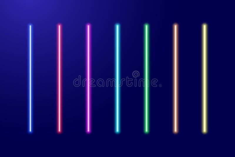 El brillar intensamente luminescente de neón rojo, anaranjado, amarillo, verde, azul, ligero stock de ilustración