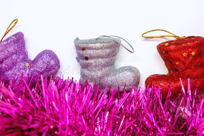 El brillo de la Navidad patea la decoración y los ornamentos del Año Nuevo fotografía de archivo libre de regalías
