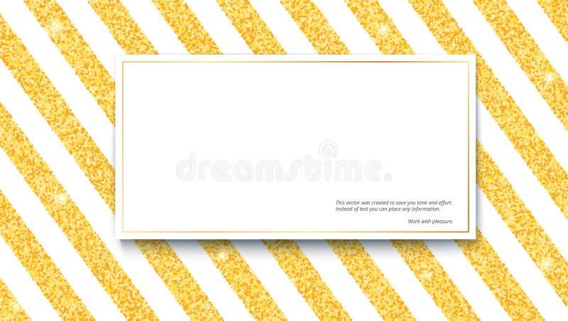 El brillo del oro chispea en fondo blanco rayado con la bandera para el texto Plantilla para el diseño de la impresión, tarjetas  ilustración del vector