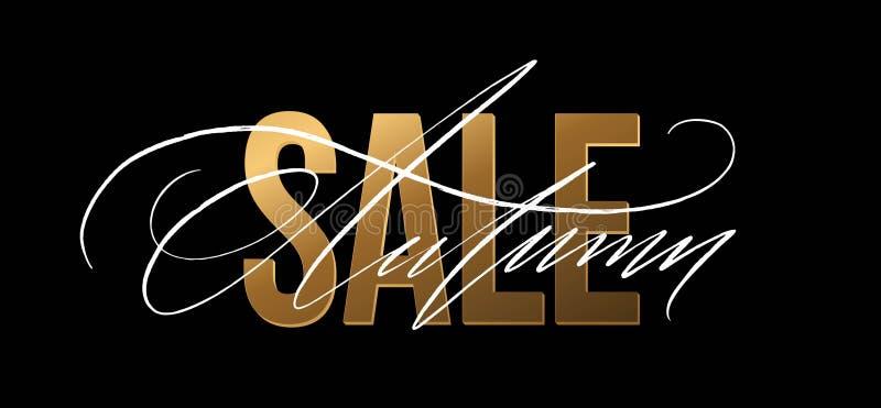 El brillo del oro de Autumn Sale firma adentro el fondo negro Ilustración del vector libre illustration