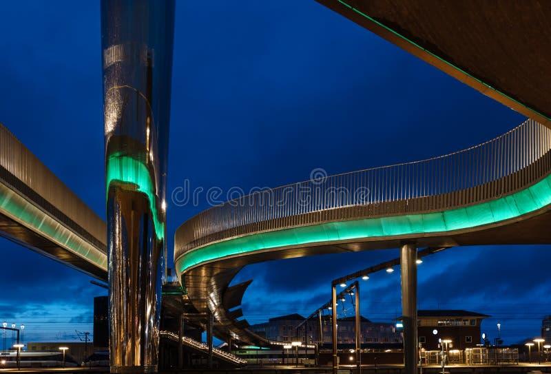 El bro de Byens del puente de la ciudad en Odense, Dinamarca fotografía de archivo
