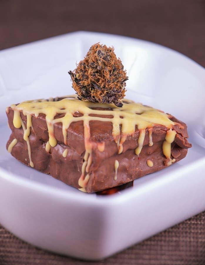 El brownie del pote del chocolate con las habas del cacao y la marijuana florecen - el servicio fotografía de archivo libre de regalías