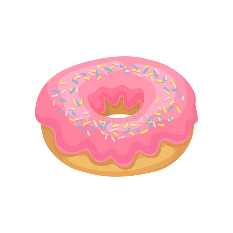 El buñuelo con el esmalte rosado y colorido sabrosos asperja Postre delicioso y dulce Diseño plano del vector para el cartel del  ilustración del vector