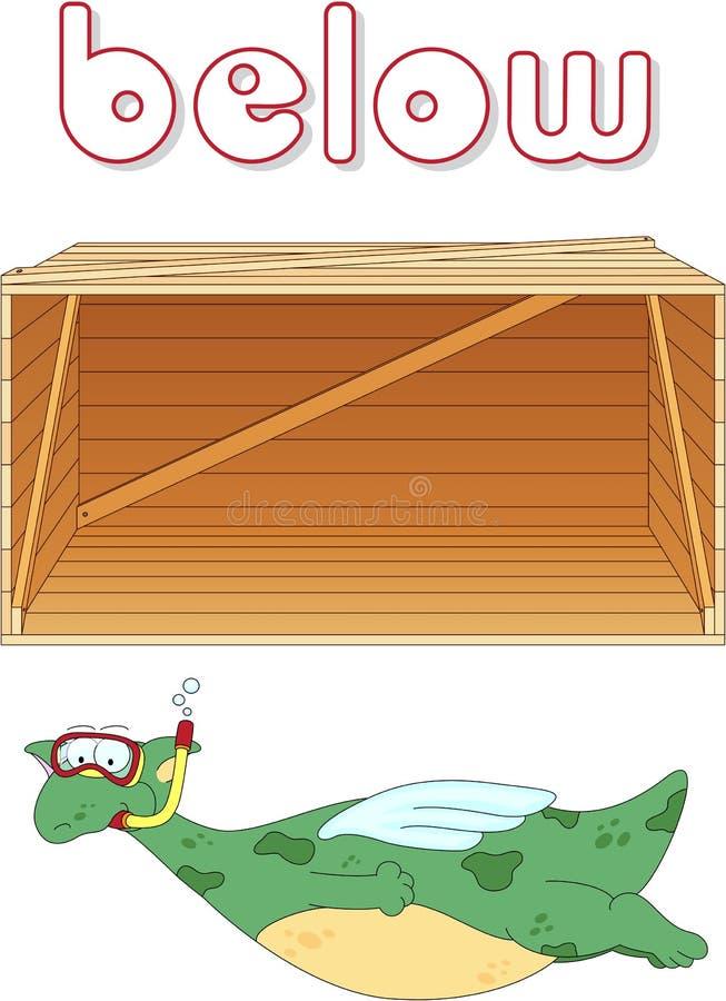 El buceador del dragón de la historieta flota debajo de la caja Gramática inglesa stock de ilustración