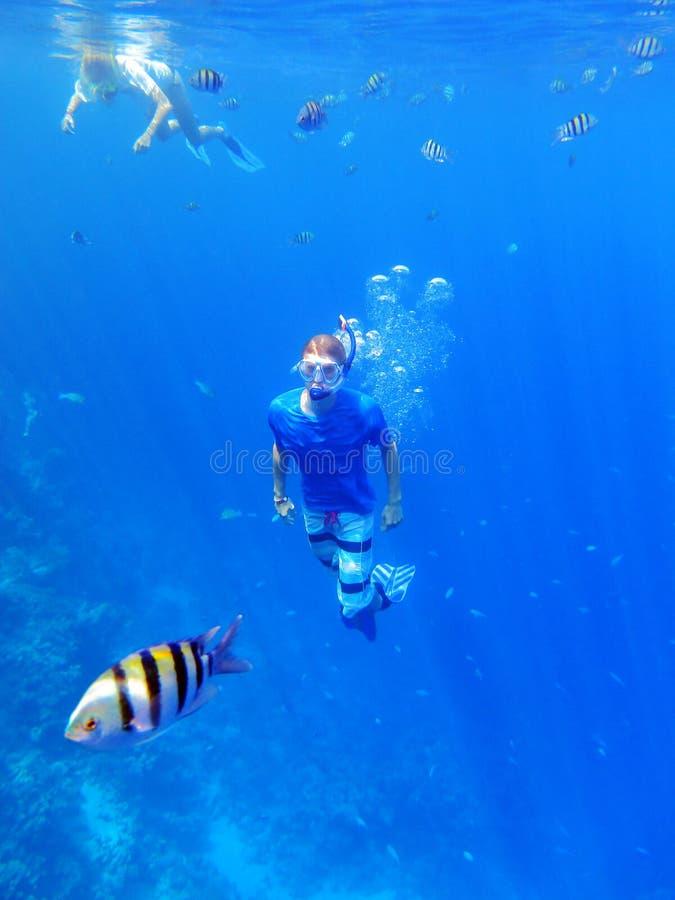 El bucear bajo el agua foto de archivo