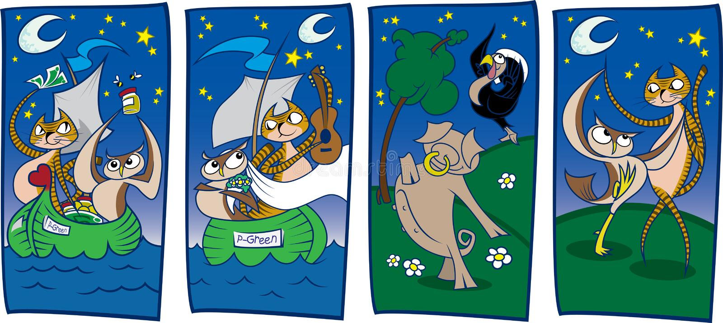 El buho y el minino (secciones) libre illustration