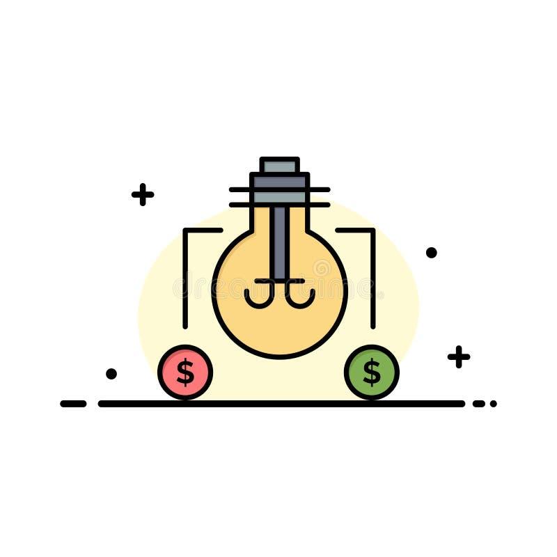 El bulbo, idea, solución, línea plana del negocio del dólar llenó la plantilla de la bandera del vector del icono stock de ilustración