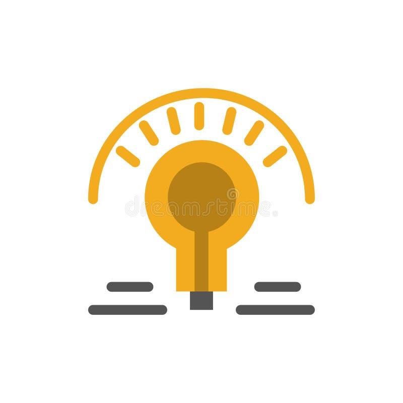 El bulbo, luz, bombilla, inclina el icono plano del color Plantilla de la bandera del icono del vector stock de ilustración