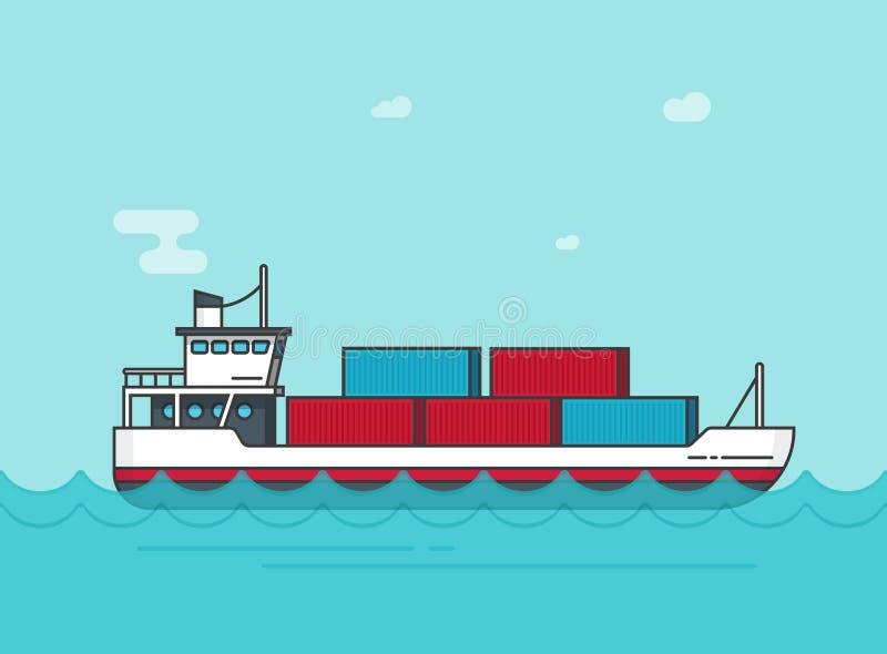 El buque de carga que flota en el ejemplo del vector del agua del océano, barco grande del carguero del envío de la historieta pl stock de ilustración