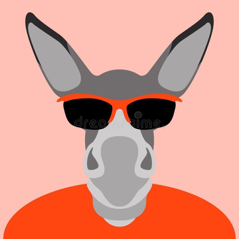 El burro en vidrios hace frente a estilo plano del ejemplo principal del vector ilustración del vector