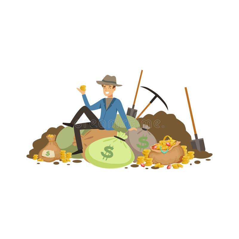 El buscador del tesoro se sienta en la pila de tearsure stock de ilustración