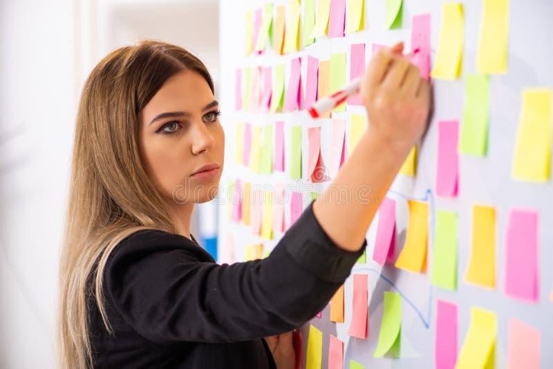El businesslady hermoso joven en concepto de las prioridades que está en conflicto imagen de archivo