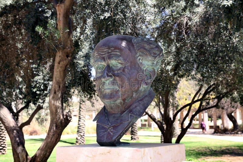 El busto del fundador del estado de Israel, Ben Gurion fotos de archivo libres de regalías