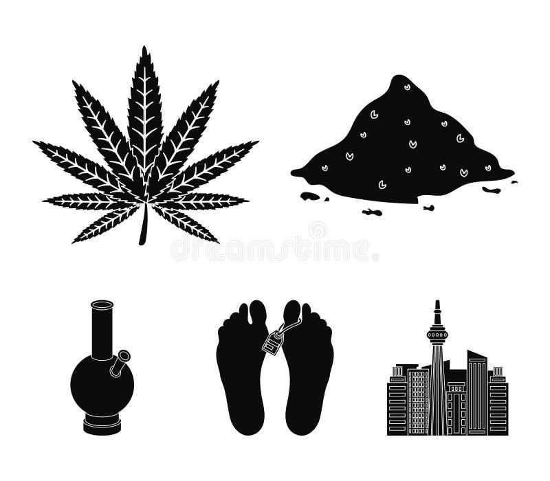 El cáñamo, cocaína, bong, cadáver en el depósito de cadáveres Las drogas fijaron iconos de la colección en el ejemplo negro de la ilustración del vector