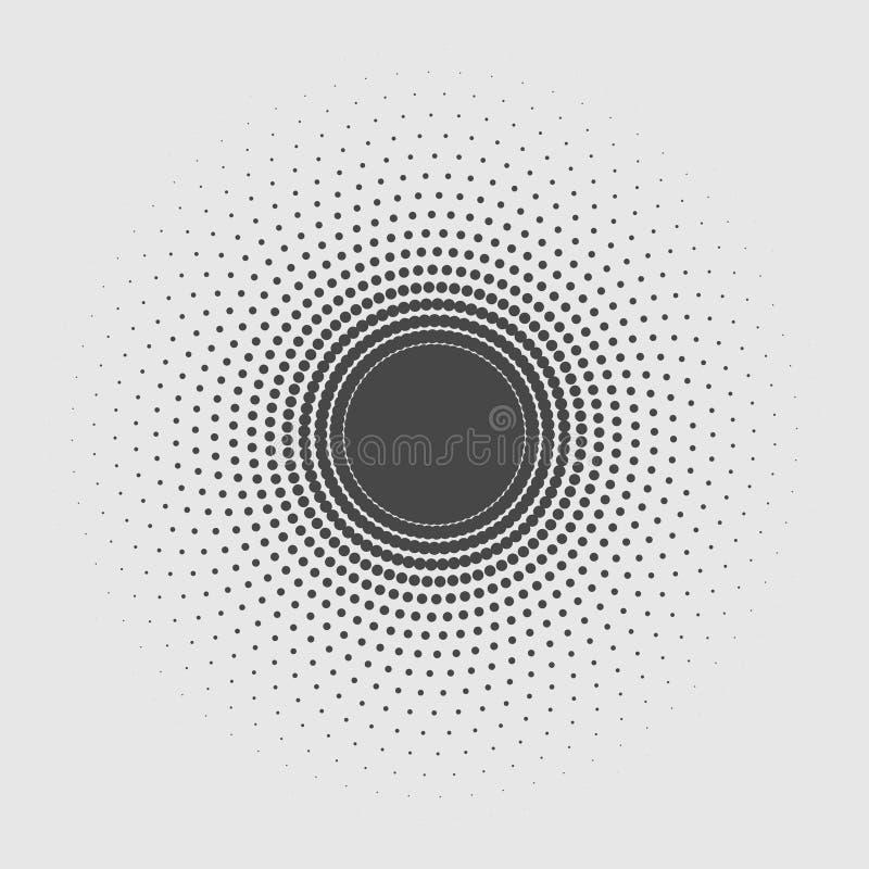 El círculo abstracto negro del vector aislado en fondo gris, los puntos de semitono diseña el elemento Plano de moda stock de ilustración