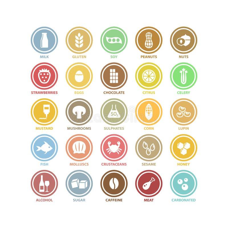 El círculo blanco del vector de los ingredientes alimentarios firma en etiquetas coloridas libre illustration