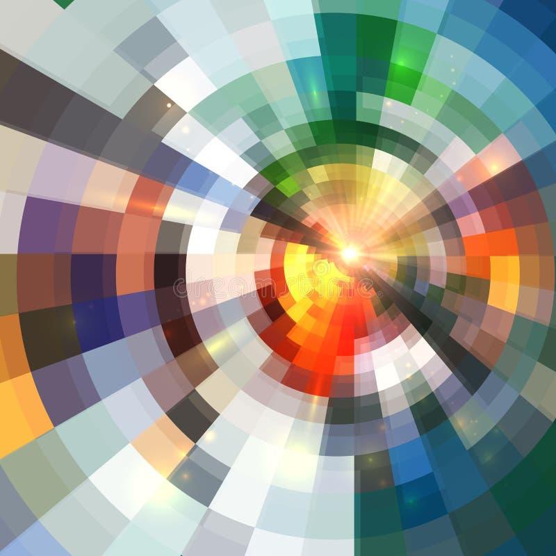El círculo brillante abstracto brillante teja el fondo ilustración del vector