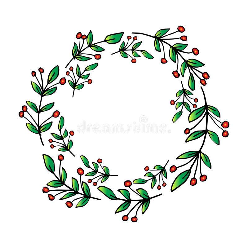El círculo de la Navidad confina marcos de las guirnaldas ilustración del vector