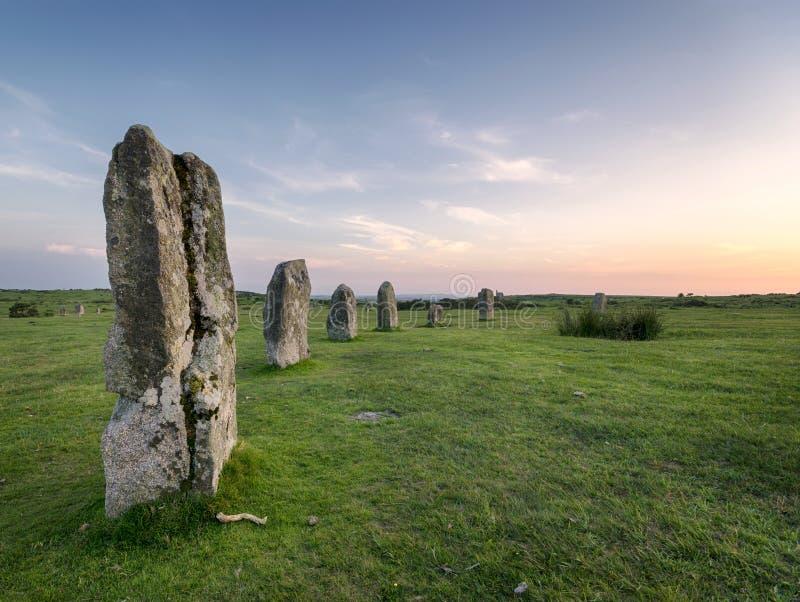 El círculo de piedra de los Hurlers en Bodmin amarra foto de archivo libre de regalías