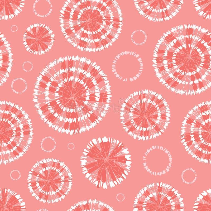El círculo rosado coralino del shibori del vector rueda el modelo inconsútil abstracto con Conveniente para la materia textil, el stock de ilustración