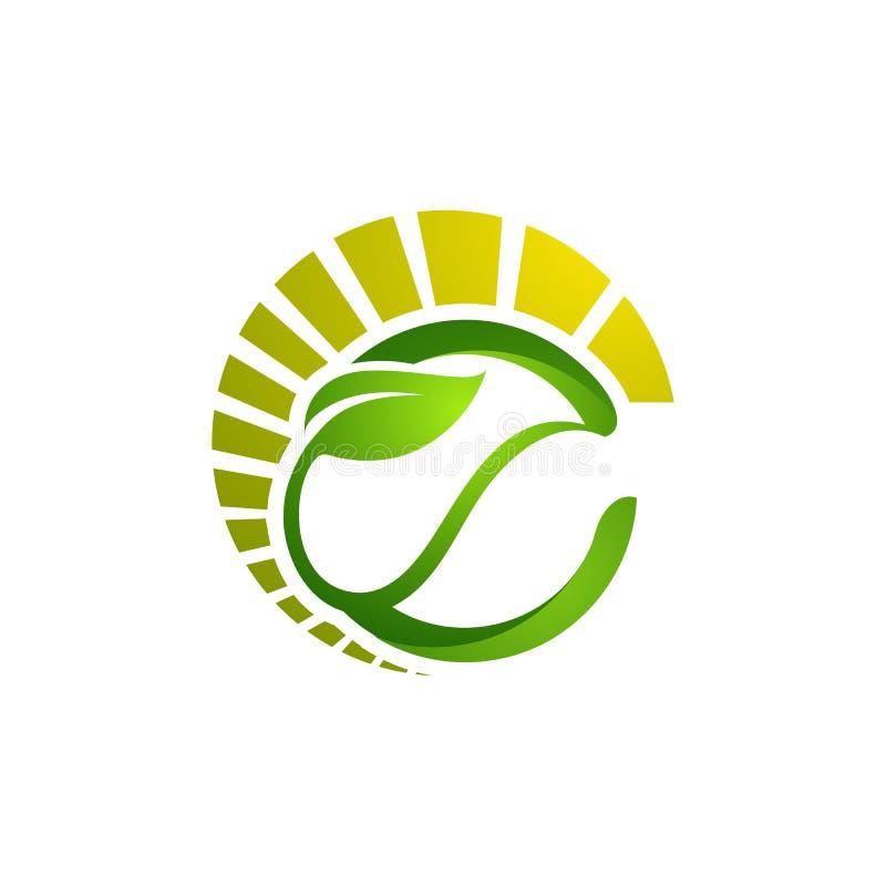 El círculo sale del logotipo de la ecología, diseño del logotipo del vector de la hoja del árbol, eco-franco stock de ilustración