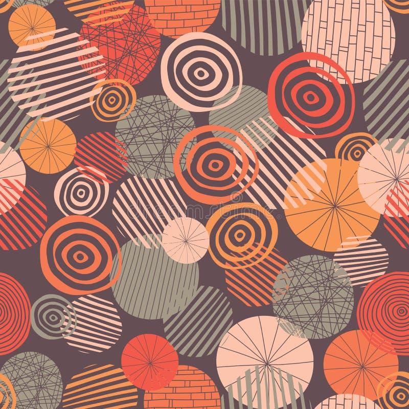 El círculo texturizado forma el modelo inconsútil del vector Rosa, gris, naranja, y círculos abstractos coralinos en fondo púrpur stock de ilustración