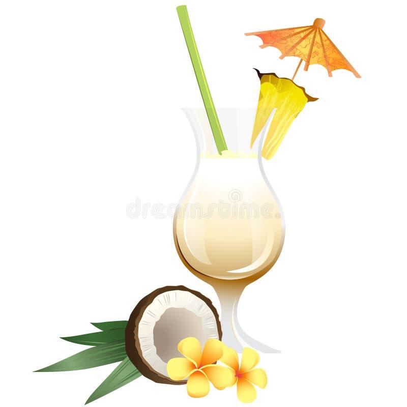 El cóctel Pina Colada con adorna stock de ilustración