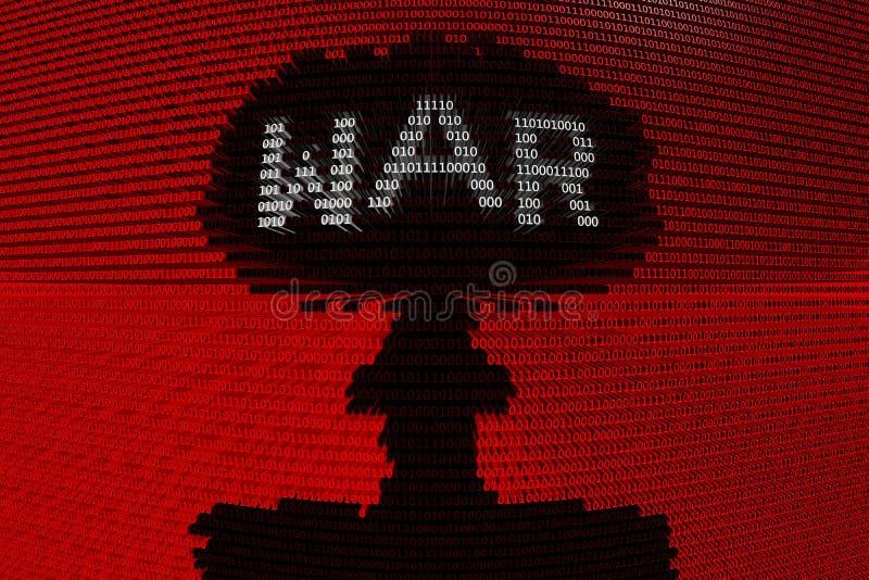 El código binario de una explosión nuclear significa la guerra cibernética ilustración del vector